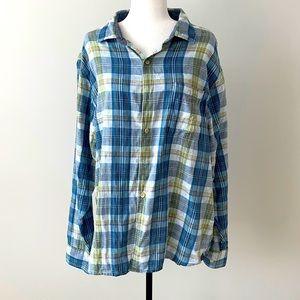 Tommy Bahama Cotton Plaid Dress Shirt XL